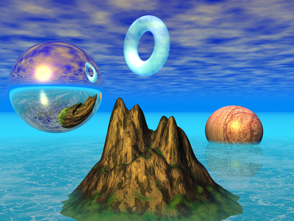A computer rendering of a mountainous landscape in an infite ocean. Above the island floats a refective sphere and a cloud torus. In the distance a half-submerged marble sphere sits in the water. It's very ridiculous.