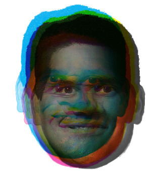 A magenta Reggie face overlaid on a cyan Reggie face on a yellow Reggie face on a black Reggie face.