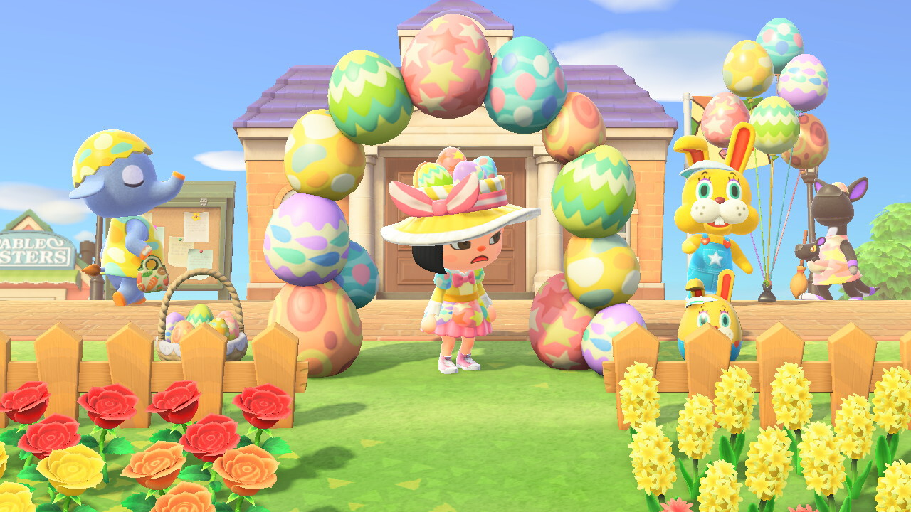 An Animal Crossing: New Horizons screenshot. My villager, wearing the colorful Bunny Day dress and hat, stands underneath an arch made of colored eggs. Nearby, the village flower garden is decorated with a basket of colored eggs and an egg in the shape of Zipper, the large overall-wearing rabbit whose appearance heralded Bunny Day. In the town plaza, Dizzy the elephant walks by in her yellow Bunny Day dress and hat, and Matilda in her orange Bunny Day clothes. Zipper himself stands next to some balloons decorated like eggs. It's all very, very colorful. My character looks annoyed.
