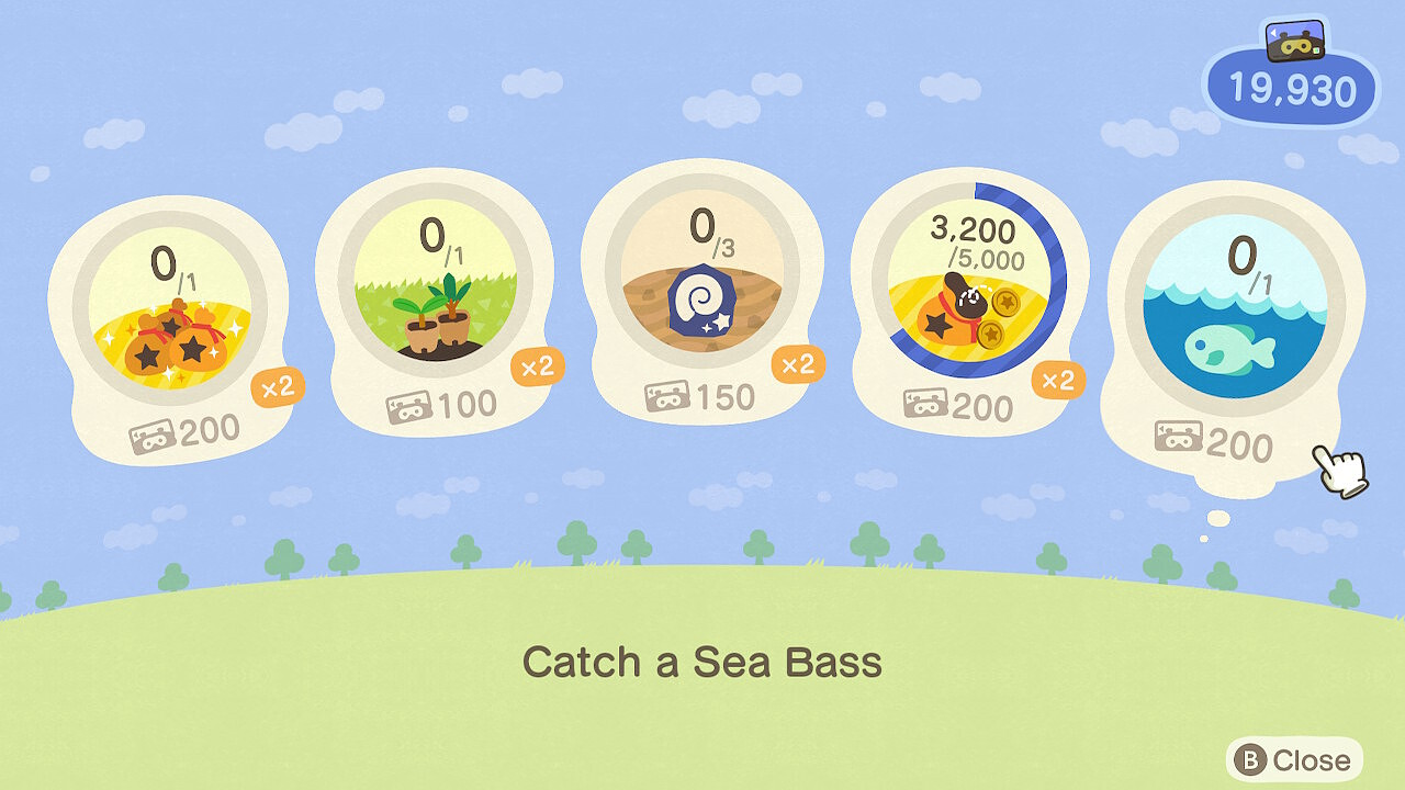 "An Animal Crossing: New Horizons screenshot. The Nook Miles+ tasks. The highlighted one reads ""Catch a Sea Bass""."