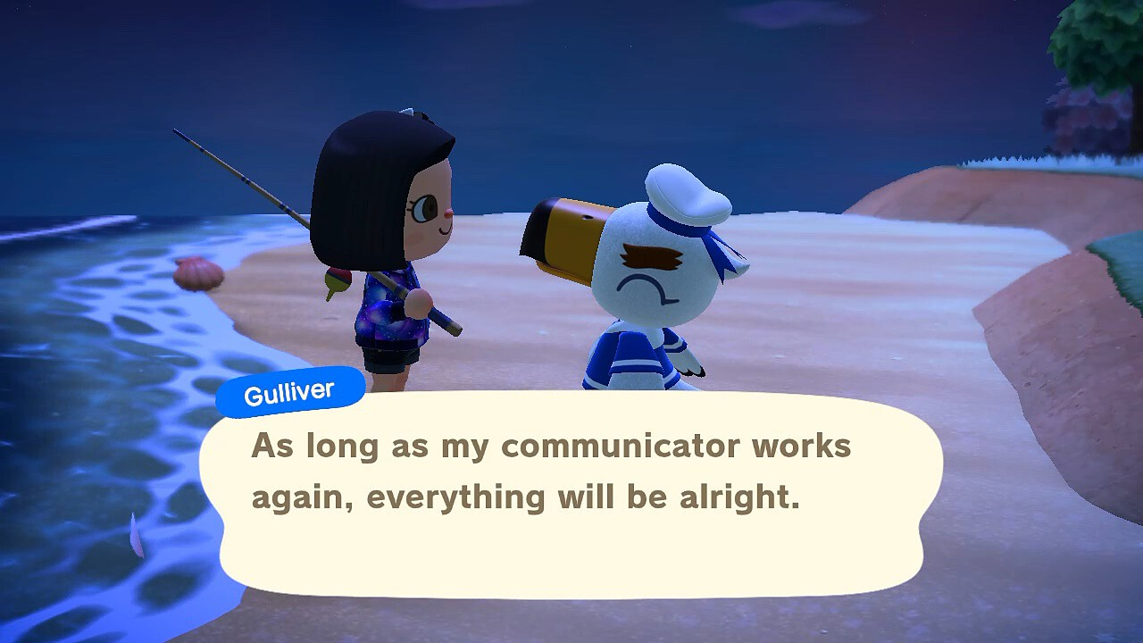 "An Animal Crossing: New Horizons screenshot. Gulliver the seagull talks to my villager. He says, ""As long as my communicator works again, everything will be alright."""