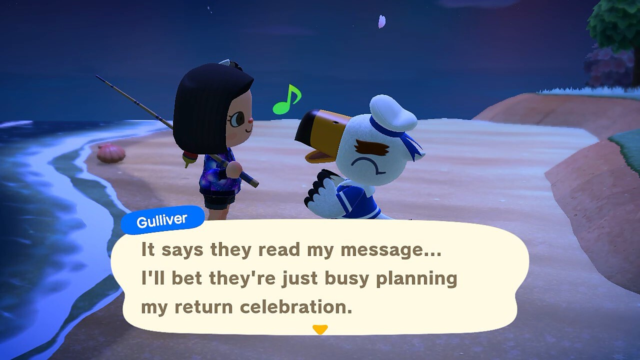 "An Animal Crossing: New Horizons screenshot. Gulliver continues, ""It says they read my message… I'll bet they're just busy planning my return celebration."" He looks pretty excited."