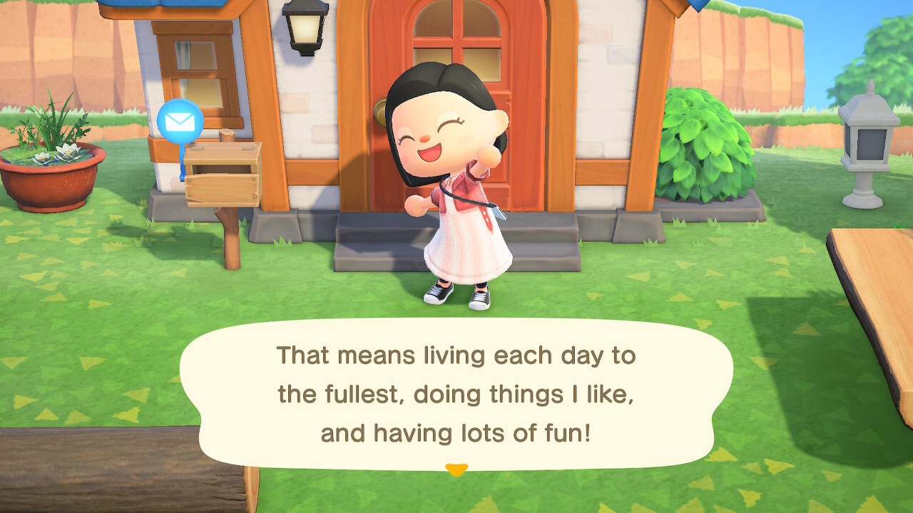 "A screenshot from Animal Crossing: New Horizons. My villager is standing in front of her house, her hand in the air in celebration. ""That means living life to the fullest, doing things I like, and having lots of fun!""."