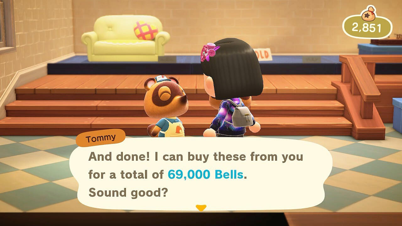 "My villager is talking to Tommy in the shop. ""And done! I can buy these from you for a total of 69,000 Bells. Sound good?"""