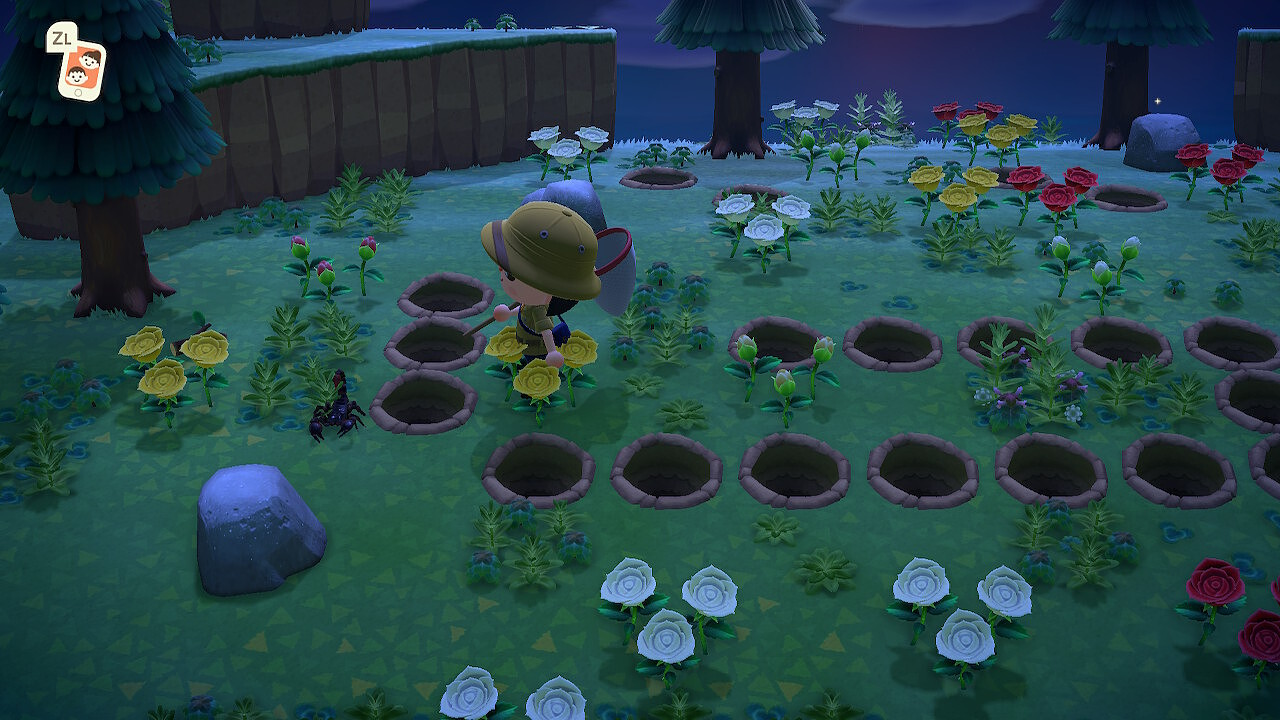 My villager eyes a scorpion across a small maze of pits.