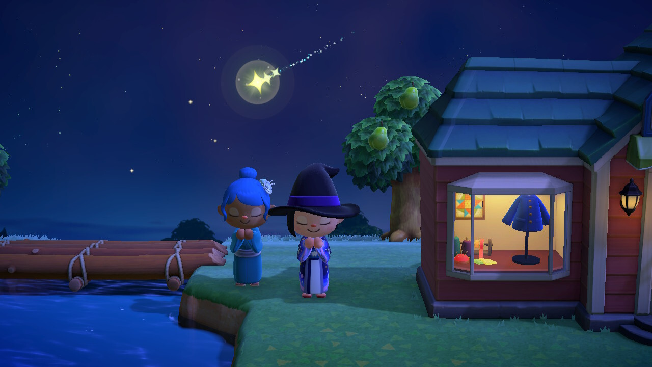 My villager, dressed in a witch's pointed hat and robe with a galaxy and star pattern, and my sister's villager, wearing a kimono and flashy pin. Both us have hands together, eyes closed as we make a wish. A shooting star shines in the sky.