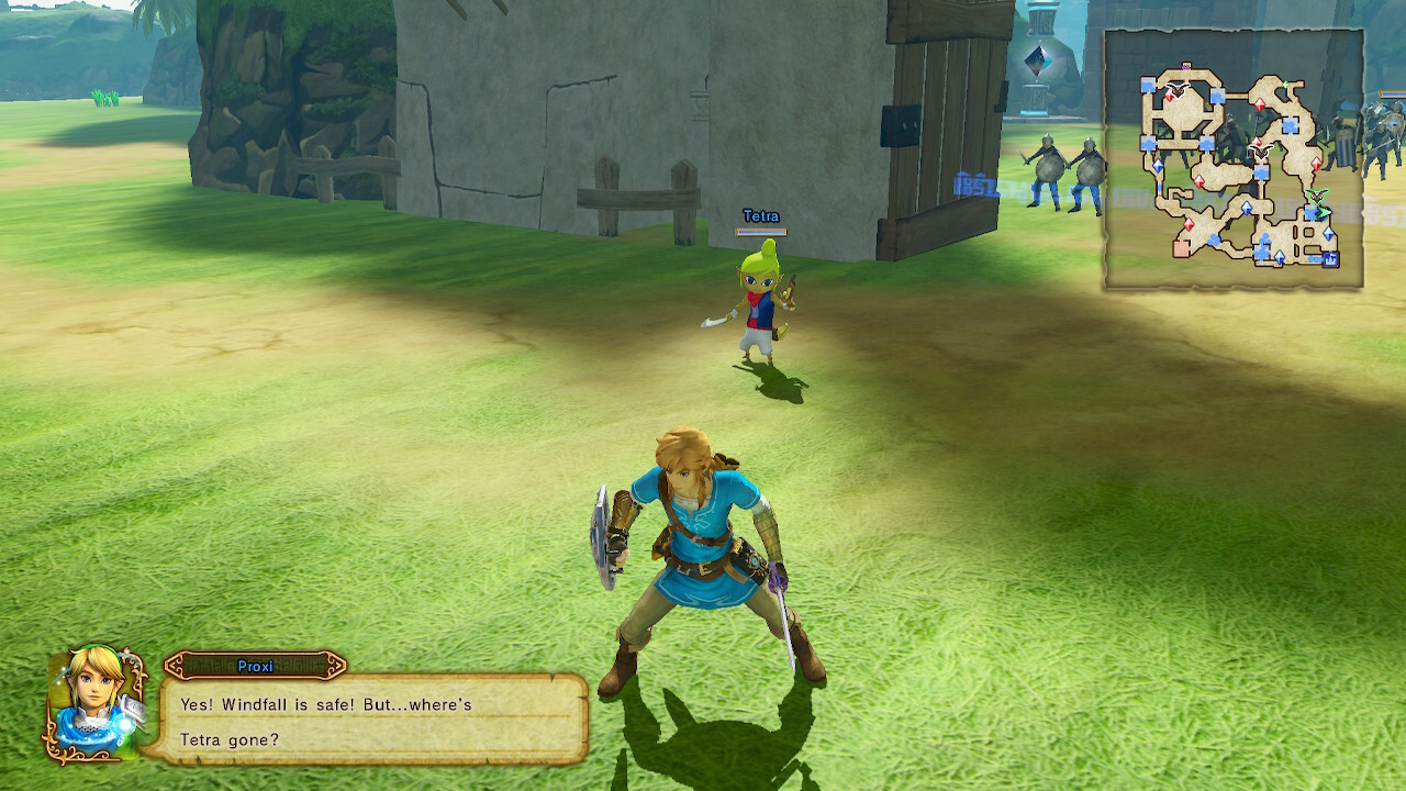 "A screenshot of Hyrule Warriors. Link is standing in the center of the camera. The dialog portrait shows Link and the fairy Proxi. The dialog is ""Yes! Windfall is safe! But…where's Tetra gone?"" Tetra is standing behind Link."