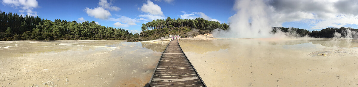A wooden walkway crosses the a shallow geothermal pool. Steam rises from the pool where the water is the hottest. On the far end of the walkway a windswept forest rises above the water.